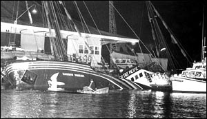 French agents blew up the Greenpeace ship Rainbow Warrior in Auckland's Waitemata Harbour on July 10, 1985. Herald picture / Ben Motu
