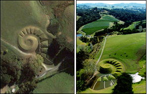 The Rodney sculpture as captured by satellite camera and seen through the Google's Earth software program (L) and Virginia King's photograph of her farmland sculpture(R).