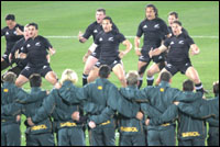 The All Blacks performing the haka before Saturday's match. Picture / Mark Mitchell