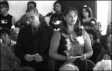 Moriori descendents Nick Preece and Shannon Peni renew the peace covenant. Picture / Sharon Pirika