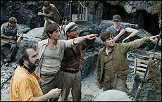 Peter Jackson, Adrien Brody and Jack Black on the set of King Kong.