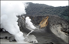 Steam rises from the Raoul Island volcano. Picture / John Funnell, Tenon Rescue Helicopter