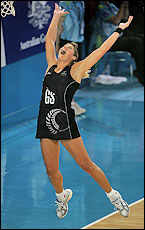 Irene van Dyk leaps for joy after beating Australia. Picture / Brett Phibbs