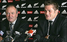 Richie McCaw (R) and coach Graham Henry at the Christchurch Rugby club today. Ross Land / Getty Images