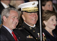 General Hagee (C) said he served at the pleasure of the president. Picture / Reuters.