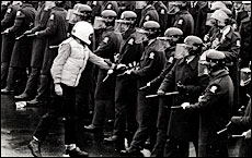 A protester places an olive branch on a long baton during protests against the 1981 Springbok tour. Picture / Paul Estcourt