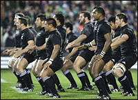 The All Blacks strike a familiar pre-match pose as the off-pitch battle for the Ka Mate haka raged on. Picture / Greg Bowker.