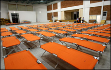 Cypriot authorities set up a makeshift reception camp facility in Larnaca for refugees from Lebanon. Picture / Reuters
