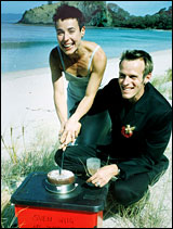 Anita McNaught and Olaf Wiig on their wedding day in the Coromandel.