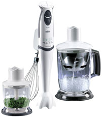 The Braun blender whisks and slices.