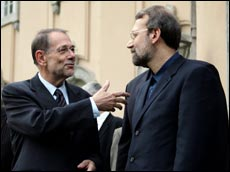 European Union foreign policy chief Javier Solana (L) and Iran's chief nuclear negotiator Ali Larijani. Picture / Reuters