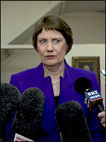 Helen Clark announces Labour will pay the money back. Picture / Dean Purcell