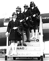 1970s NAC hostesses (from top) Gay Richardson, Barbara Askew, Michelle Ayton and Patricia Pomeroy in their new uniforms.