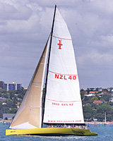 NZL40 on Auckland's Waitemata Harbour. Photo / Peter Meecham