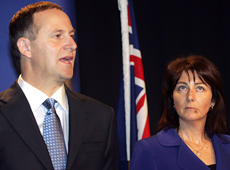 John Key and wife Bronagh yesterday. Photo / Doug Sherring