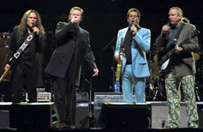 US rock group the Eagles (L-R) Timothy B. Schmidt, Don Henley, Glen Frey and Joe Walsh on stage. Photo / Reuters