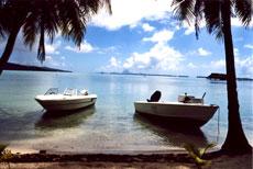 Tahaa's lagoon, with Bora Bora in the background. Photo / Graeme Lay