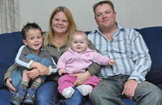 Andrea Colledge with her son Keenan, daughter Chloe and partner Andy Munro.