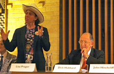 Lisa Prager tells mayor Dick Hubbard and others at last night's debate that the $43.5 million Queen St upgrade is bureaucratic madness. Photo / Dean Purcell