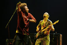 Rage Against The Machine singer Zack de la Rocha and bassist Tim Commerford (R) on stage in the US in July. Photo / Reuters
