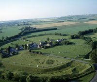 The village of Avebury within the largest prehistoric stone ring in the world, partly hewn from the stones themselves