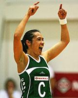 Cook Islands captain Ritua Petero celebrates her team's win against Fiji. Photo / Getty Images