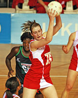 England's Louisa Brownfield secures possession during the game against Malawi. Photo / Getty Images