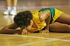 Australia's Selina Gilsenan suffered an ankle injury in the match against Scotland. Photo / Getty Images