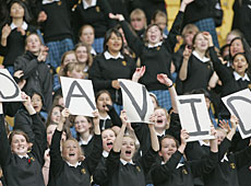 School girls shout their support to football star David Beckham. Photo / Mark Mitchell