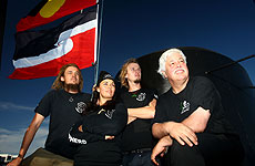 Willie Houtman, Mihirangi, Simeon Houtman and Paul Watson. Photo / Getty Images