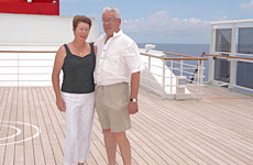 Susan and Peter Gleeson on the luxury liner.