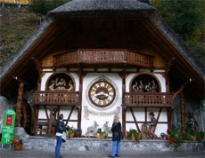 A giant cuckoo clock the size of a house welcomes visitors to the House of Black Forest Clocks. Photo / Jim Eagles