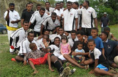 Coaches at Fiji's Cuvu v Lemo rugby match were pleased to receive a consignment of lightly worn boots. Photo / Diana Clement