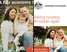 The Labour party pamphlet (left) and the Australian government document (right) both show a family from Washington, US.