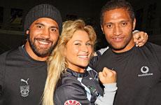 Wrestling star Natalya lets Vodafone Warriors Ruben Wiki and Manu Vatuvei know who's boss at Mt Smart Stadium. Photo / Paul Estcourt