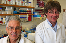 Professors Bill Denny (left) and Peter Shepherd from Pathway Therapeutics are working on an anti-cancer drug. Photo / Paul Estcourt