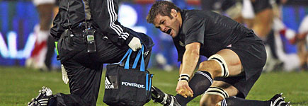 All Blacks captain Richie McCaw had to leave the field in the first half with an ankle injury. Photo / Getty Images