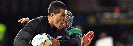 Mils Muliaina of the All Blacks makes a break during the test against the Springboks in Dunedin. Photo / Getty Images