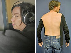 Bjork attacked Glenn Jeffrey at Auckland Airport and tore his shirt. Photos / Glenn Jeffrey (L), Dean Purcell (R)