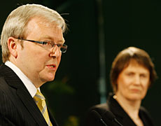 Kevin Rudd and Helen Clark in Auckland yesterday. Photo / Greg Bowker