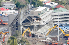 Demolition work continues at Eden Park during its upgrade for the 2011 Rugby World Cup. Photo / Greg Bowker