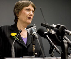 Helen Clark announcing on Friday that she had stood down Winston Peters as foreign Minister. Photo / Richard Robinson