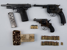 The array of weapons and ammunition found by police today. Photo supplied