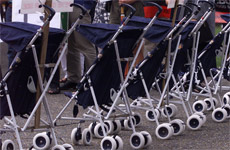 Prams lined up in Aotea Square in 2001 to signify the need for 14 weeks paid parental leave. Photo / Martin Sykes