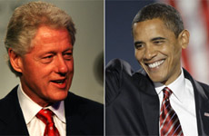 Bill Clinton and Barack Obama, two men elected president of the United States who grew up without the influence of a father. Photos / Martin Sykes and AP