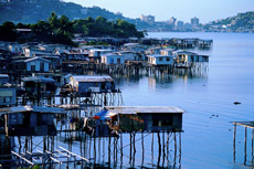 It is believed black magic cannot cross water, so homes in Hanuabada Village, Port Moresby, were built over the sea.