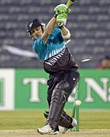 New Zealand's wicketkeeper Brendon McCullum is bowled during the second Twenty20 game against England in Christchurch. Photo / Reuters