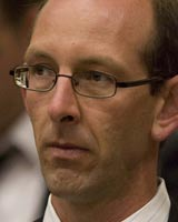 David Bain listening to evidence at his murder retrial. Pool photo