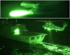 The NZ Navy's seasprite helicopter tests an air-to-surface missile (top) and returns to the frigate Te Mana. Photos / Supplied