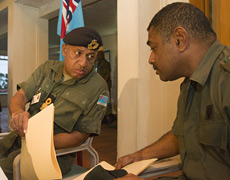 Major Neumi Leweni with Cmdr Bainimarama in 2006. File photo / Greg Bowker